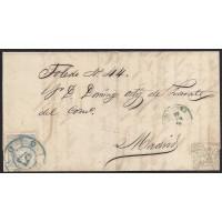 "1870. ESPAÑA. SPAIN. TALAVERA DE LA REINA A MADRID. 50 MILS. ULTRAMAR. ED. 107. MAT. RC ""57"" AZUL. PRECIOSA ENVUELTA."