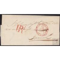 """1851. ESPAÑA. SPAIN. SEPÚLVEDA A GRANADA. FECHADOR CASTILLEJO Nº 2 EN ROJO. PORTEO """"1RL"""" EN ROJO. PRECIOSO."""