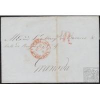 """1848. ESPAÑA. SPAIN. MADRID A GRANADA. FECHADOR MADRID Nº 19 EN ROJO. PORTEO """"1RL"""" EN ROJO DE GRANADA. BONITA."""