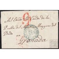 """1843. ESPAÑA. SPAIN. MADRID A GRANADA. FECHADOR MADRID Nº 19 EN AZUL. PORTEO """"9"""" CUARTOS EN ROJO. PRECIOSA."""