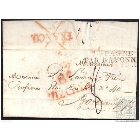 1824. ESPAÑA. SPAIN. BILBAO A BURDEOS.