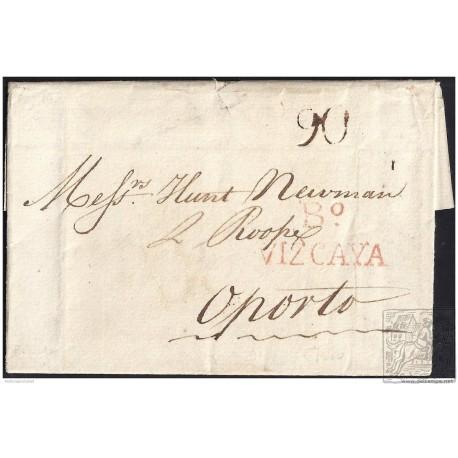 1820. ESPAÑA. SPAIN. BILBAO A PORTUGAL.