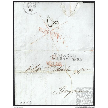 1827. ESPAÑA. SPAIN. BILBAO A BAYONA.