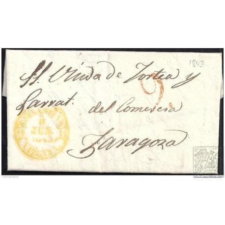 1845. ESPAÑA. SPAIN. SAN SEBASTIAN A ZARAGOZA.