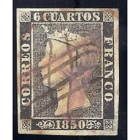 EMISIONES CLASICAS. ED. 1. 1850. ESPAÑA. SPAIN. 6 CUARTOS NEGRO.