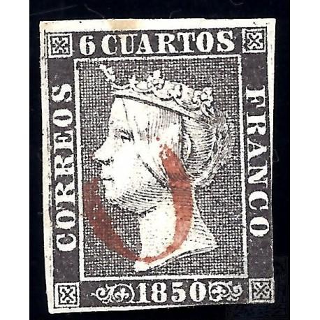EMISIONES CLASICAS. ED. 1. 1850. ESPAÑA. SPAIN. 6 CUARTOS.