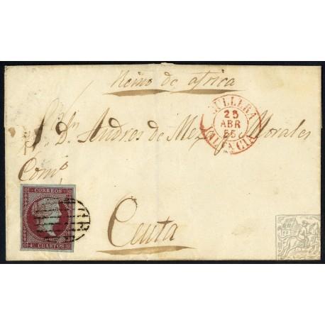 EMISIONES CLASICAS. ED. 40. 1855. ESPAÑA. SPAIN. CULLERA A CEUTA. 4 CUARTOS.