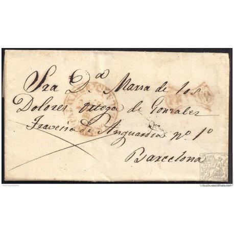 1849. ESPAÑA. SPAIN. TALAVERA DE LA REINA A BARCELONA.