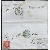 EMISIONES CLASICAS. ED. 48. 1856. ESPAÑA. SPAIN. ESTADOS UNIDOS. USA. CHARLESTON A PALMA DE MALLORCA. 4 CUARTOS.