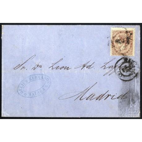 EMISIONES CLASICAS. ED. 99. 1869. ESPAÑA. SPAIN. MALAGA A MADRID. 100 MILS.
