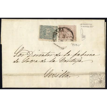 EMISIONES CLASICAS. ED. 153, 154. 1875. ESPAÑA. SPAIN. GRANADA A SEVILLA. 10 Y 5 CTS.