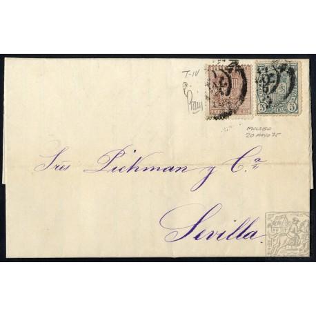 EMISIONES CLASICAS. ED. 153, 154. 1875. ESPAÑA. SPAIN. MALAGA A SEVILLA. 10 Y 5 CTS.