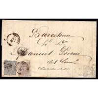 EMISIONES CLASICAS. ED. 153, 172A. 1875. ESPAÑA. SPAIN. REUS A BARCELONA. 10 Y 5 CTS.