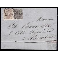 EMISIONES CLASICAS. ED. 153, 172A. 1875. ESPAÑA. SPAIN. TARRAGONA A BARCELONA. 10 Y 5 CTS.