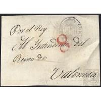 CIRCA 1825. S/F. ESPAÑA. SPAIN. A VALENCIA. FRONTAL.