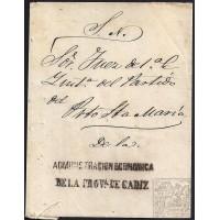 CIRCA 1840. S/F. ESPAÑA. SPAIN. CADIZ A PUERTO DE SANTA MARIA. SOBRE MANUAL.