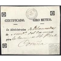1857. ESPAÑA. SPAIN. MEDINA DEL CAMPO A CORUÑA. FRONTAL.