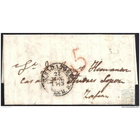 1845. ESPAÑA. SPAIN. BARCARROTA A ZAFRA.