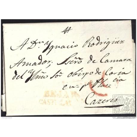 1832. ESPAÑA. SPAIN. BEJAR A CACERES.