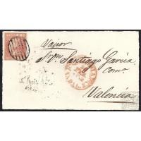 ALMERIA. 1862. ESPAÑA. SPAIN. 6 CUARTOS. ED. 12. ALMERIA A VALENCIA.