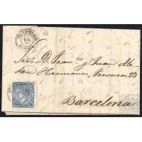 ALMERIA. 1865. ESPAÑA. SPAIN. 4 CUARTOS. ED. 75. VELEZ-RUBIO A BARCELONA.