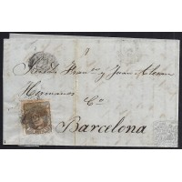 ALMERIA. 1872. ESPAÑA. SPAIN. 50 MILS. ED. 107. VELEZ RUBIO A BARCELONA.