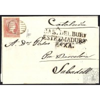 BADAJOZ. 1856. ESPAÑA. SPAIN. 4 CUARTOS. ED. 48. CABEZA DEL BUEY A SABADELL.