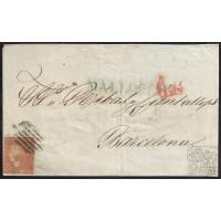 BALEARES. 1852. ESPAÑA. SPAIN. 6 CUARTOS. ED. 12P. PALMA DE MALLORCA A BARCELONA.