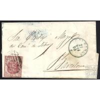 BALEARES. 1855. ESPAÑA. SPAIN. 4 CUARTOS. ED. 33A. PALMA DE MALLORCA A BARCELONA.