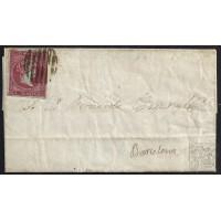 BALEARES. 1856. ESPAÑA. SPAIN. 4 CUARTOS. ED. 40. PALMA DE MALLORCA A BARCELONA.