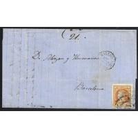 BALEARES. 1860. ESPAÑA. SPAIN. 4 CUARTOS. ED. 52. ANDRAITX A BARCELONA.