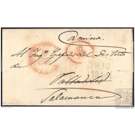 1846. ESPAÑA. SPAIN. MADRID A VALLADOLID. REEXPEDIDA A SALAMANCA.