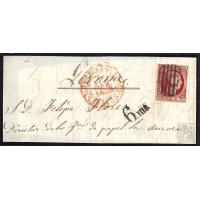BARCELONA. 1853. ESPAÑA. SPAIN. 6 CUARTOS. ED. 17. BARCELONA A GERONA.