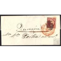 BARCELONA. 1853. ESPAÑA. SPAIN. 6 CUARTOS. ED. 17. BARCELONA A ZARAGOZA.