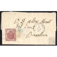 BARCELONA. 1855. ESPAÑA. SPAIN. 4 CUARTOS. ED. 33. COPONS (ANOIA) A BARCELONA.