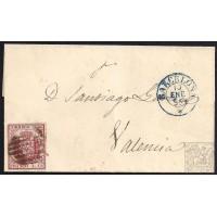 BARCELONA. 1855. ESPAÑA. SPAIN. 4 CUARTOS. ED. 33A. BARCELONA A VALENCIA.