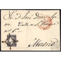 CACERES. 1850. ESPAÑA. SPAIN. 6 CUARTOS. ED. 1A. CACERES A MADRID.