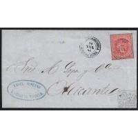 CANARIAS. 1864. ESPAÑA. SPAIN. 4 CUARTOS. ED. 64. SANTA CRUZ DE MUDELA A ALICANTE.