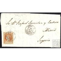 CIUDAD REAL. 1860. ESPAÑA. SPAIN. 4 CUARTOS. ED. 52. ALMADEN A SEGOVIA.