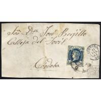 CORDOBA. 1863. ESPAÑA. SPAIN. 2 CUARTOS. ED. 57. CORDOBA. CORREO INTERIOR.