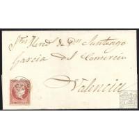CUENCA. 1859. ESPAÑA. SPAIN. 4 CUARTOS. ED. 48. MOTILLA DEL PALANCANAR A VALENCIA.