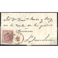 GIRONA. 1855. ESPAÑA. SPAIN. 4 CUARTOS. ED. 33A. GERONA A BARCELONA.