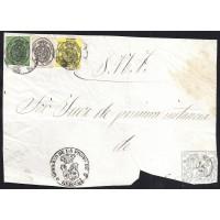 GIRONA. 1861. ESPAÑA. SPAIN. MEDIA, UNA Y CUATRO ONZAS. ED. 35, 36 Y 37. GIRONA. PLICA OFICIAL.