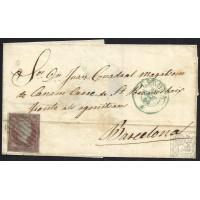 GIRONA. 1855. ESPAÑA. SPAIN. 4 CUARTOS. ED. 40. GIRONA A BARCELONA.