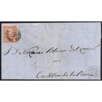 GIRONA. 1858. ESPAÑA. SPAIN. 4 CUARTOS. ED. 48. FIGUERES A CASTELLON DE LA PLANA.