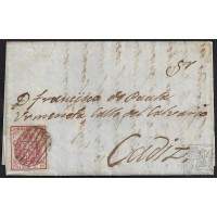 HUELVA. 1855. ESPAÑA. SPAIN. 4 CUARTOS. ED. 33. HUELVA A CADIZ.