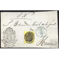 HUELVA. 1856. ESPAÑA.S PAIN. MEDIA ONZA. ED. 35. HUELVA A HUESCA.