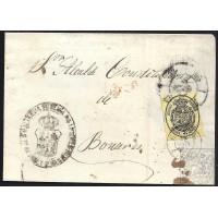 HUELVA. 1863. ESPAÑA. SPAIN. MEDIA ONZA. ED. 35. HUELVA A BONARES.