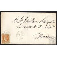 HUELVA. 1861. ESPAÑA. SPAIN. 4 CUARTOS. ED. 52. GIBRALEON A MADRID.