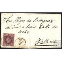 HUELVA. 1863. ESPAÑA. SPAIN. 4 CUARTOS. ED. 58. LA REDONDELA A VALLADOLID.